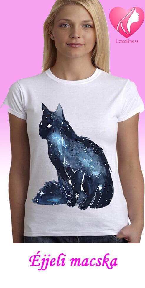 Éjjeli macska egyedi női macskás póló