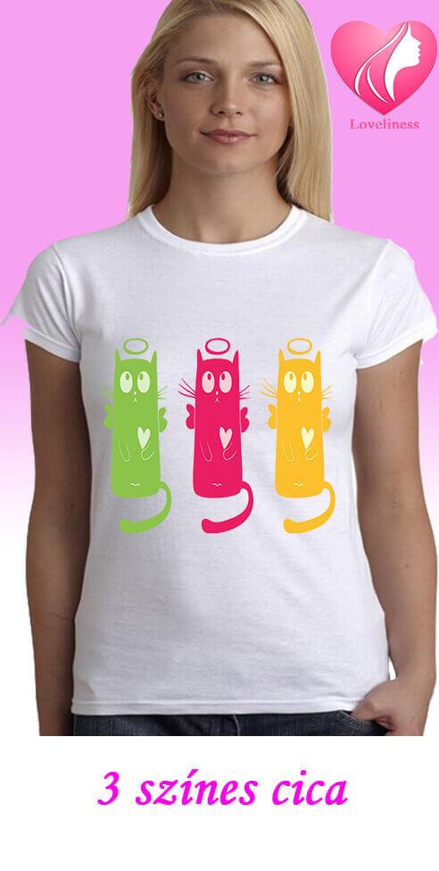 3 színes cica egyedi női macskás póló