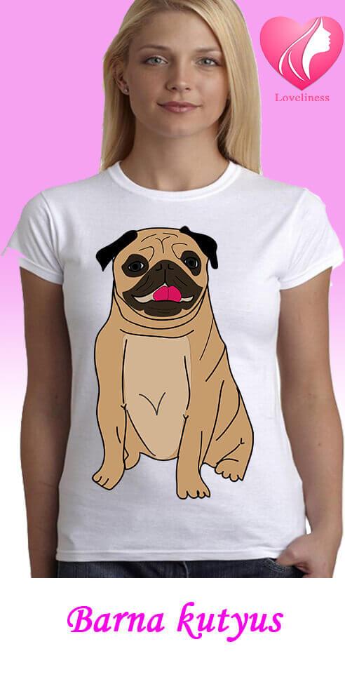 Barna kutyus egyedi női kutyás póló