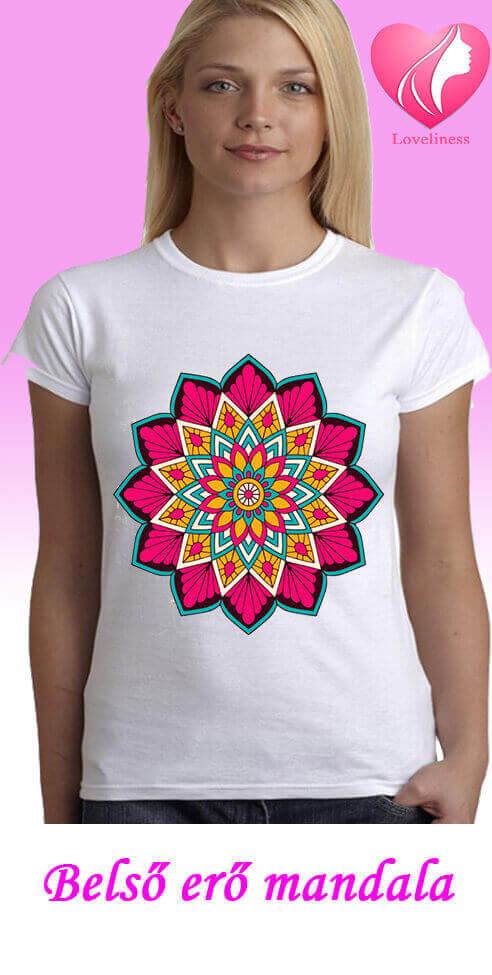Belső erő Mandalás női pólókmandalás póló