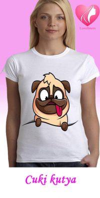 Cuki kutya egyedi női kutyás póló