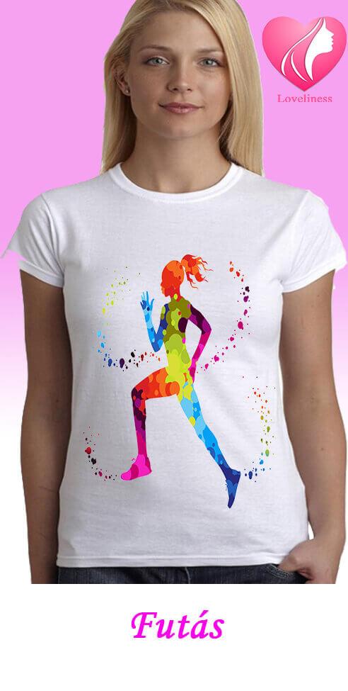 Futás női egyedi póló