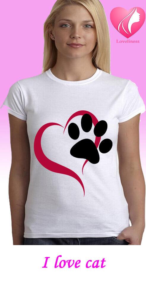 I love cat egyedi női macskás póló