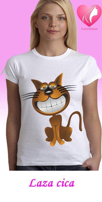 Laza cica egyedi női macskás póló