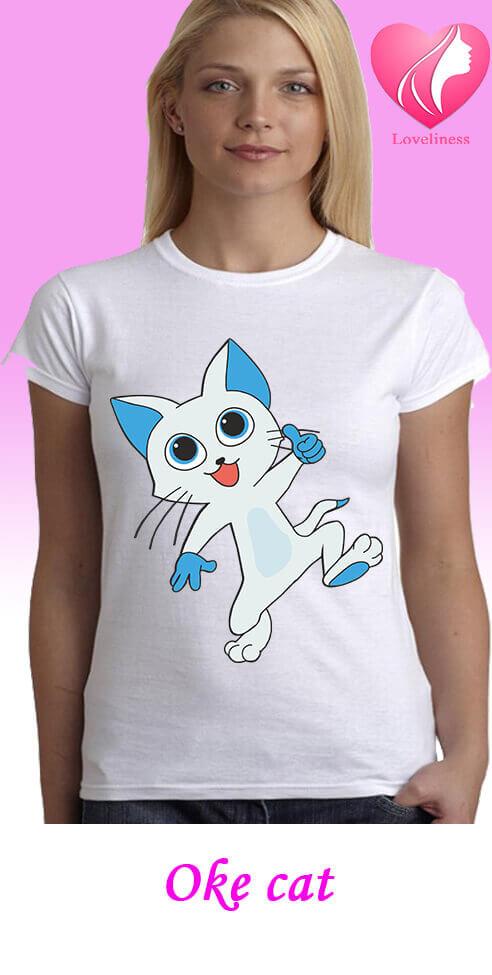 Oke cat egyedi női macskás póló