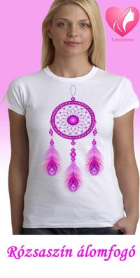 Rózsaszín álomfogó egyedi női póló
