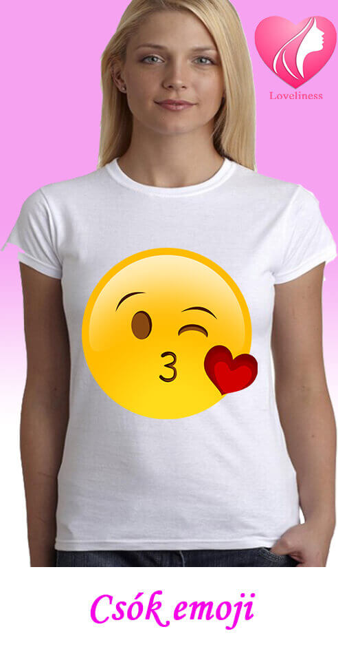 Csók emoji egyedi női póló