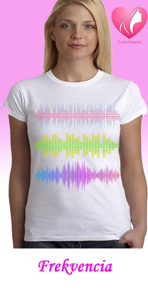 Frekvencia egyedi női póló zenés póló