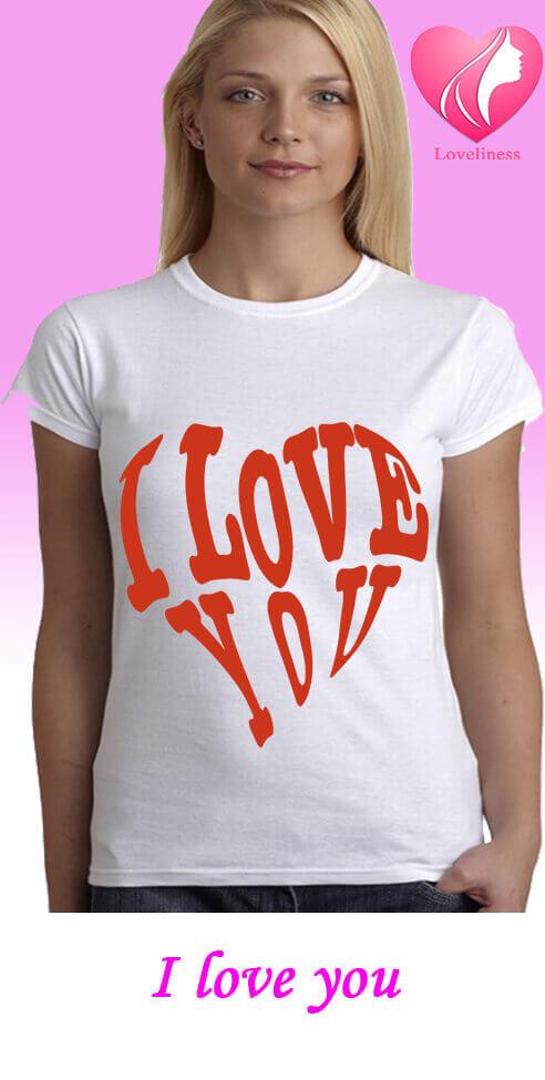 I love you egyedi női szivecskés póló