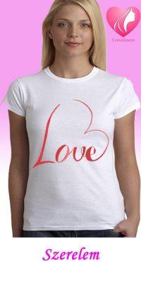 Szerelem egyedi női szivecskés póló