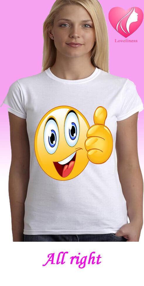 all right emoji egyedi női póló