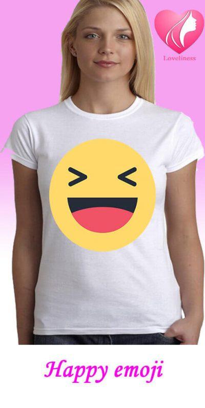 happy emoji egyedi női póló