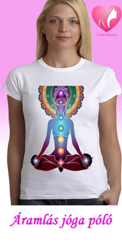Áramlás jógás egyedi női póló