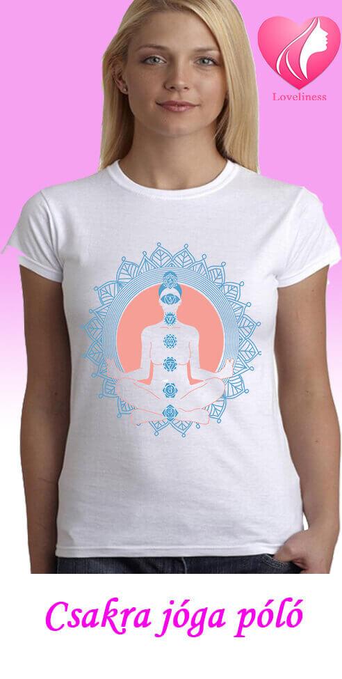 Csakra jógás egyedi női póló