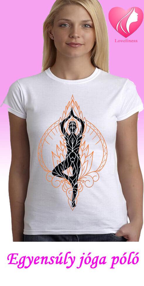 Egyensúly jógás egyedi női póló
