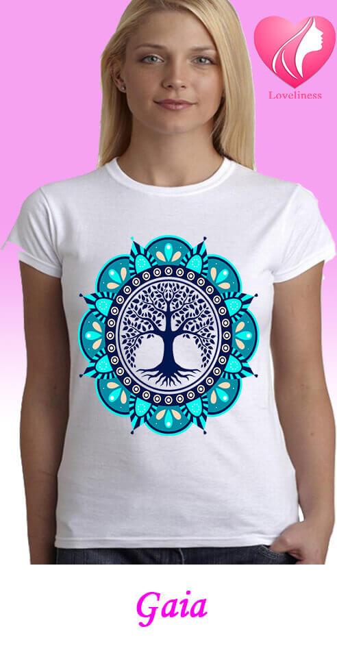 Gaia egyedi női new age póló