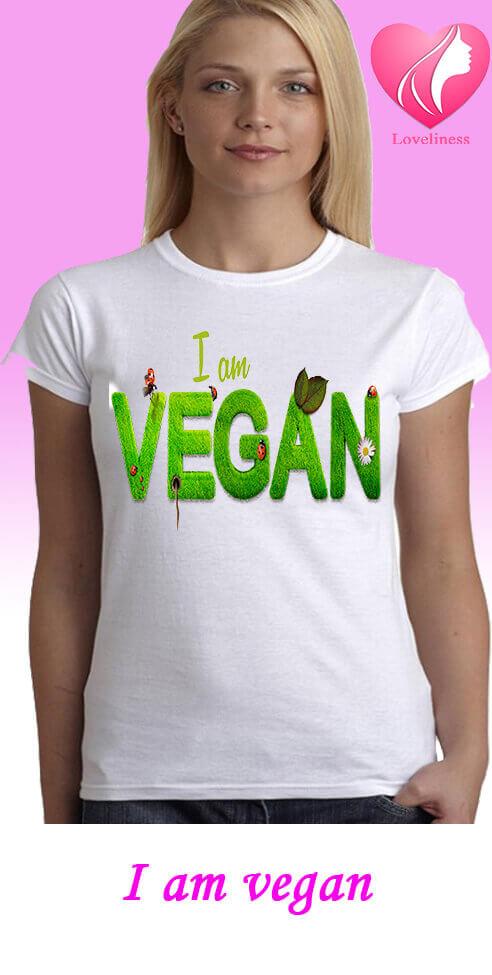 I am vegan egyedi női vegetáriánus póló