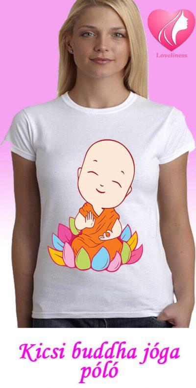 Kicsi buddha jógás egyedi női póló
