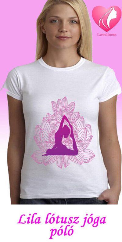 Lila lótusz jógás egyedi női póló
