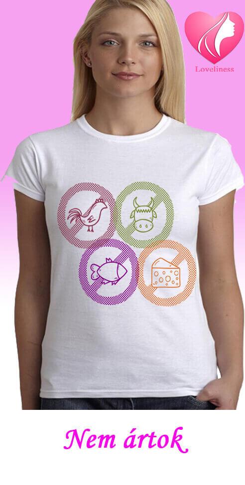 Nem ártok egyedi női vegetáriánus póló