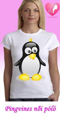 Pingvines egyedi női póló