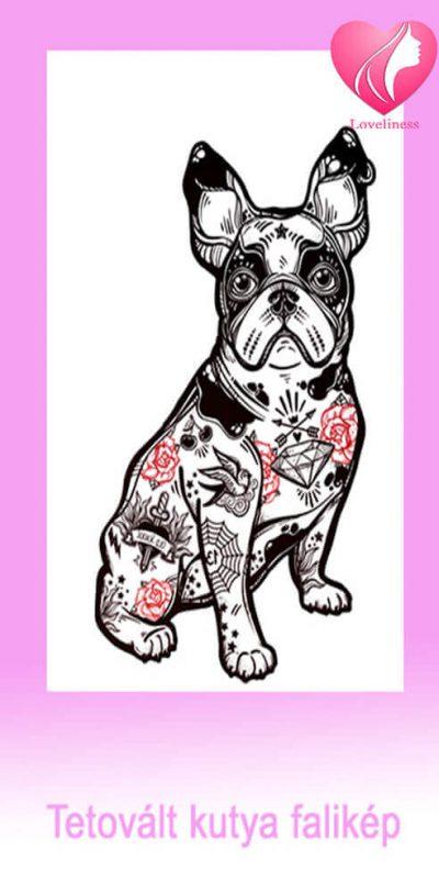 Tetovált kutya textil fali egyedi vászonkép