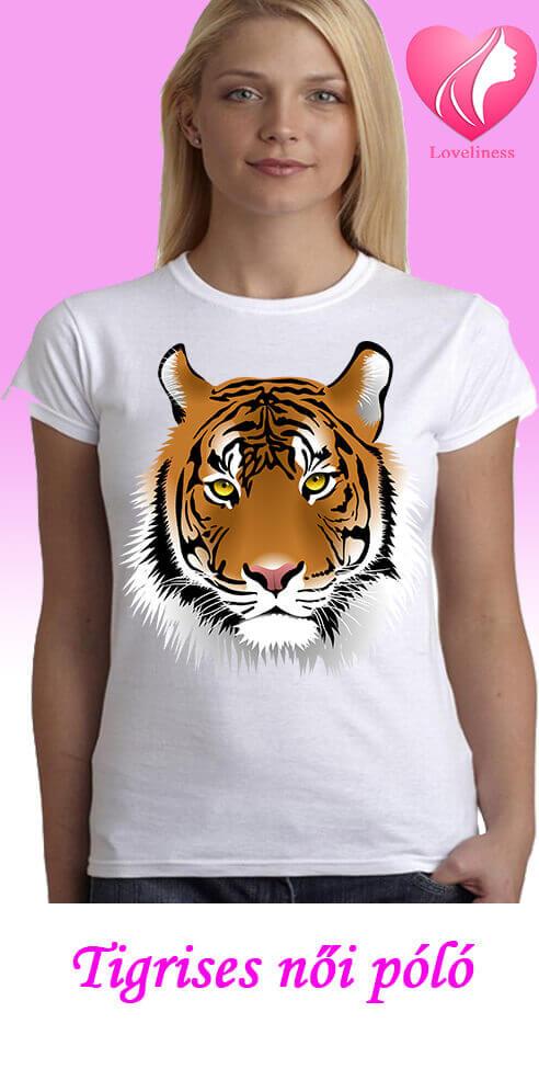 Tigrises egyedi női póló