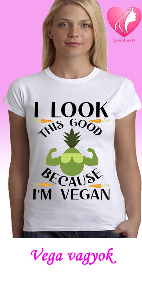 Vega vagyok egyedi női vegetáriánus póló